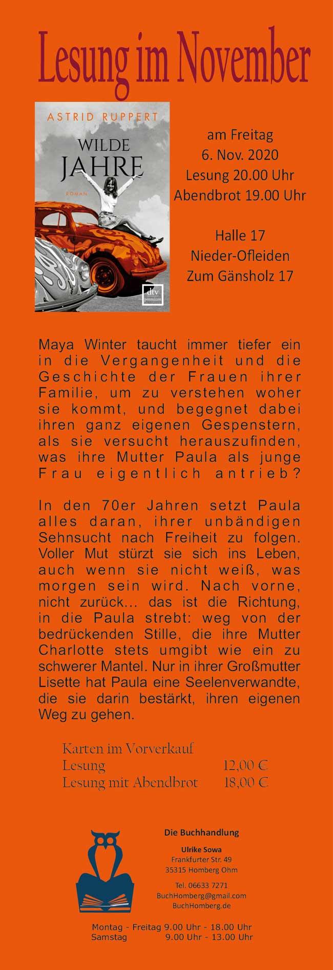 Lesung mit Astrid Ruppert